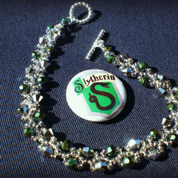 Silver and Green Slytherin Inspired Bracelet with by MudInMyBlood