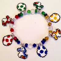 Super Mario World Baby Yoshi and Yoshi Egg Charm Bracelet