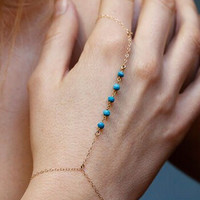 Golden Chain Faux Turquoise Designed Ring Bracelet