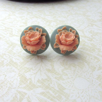 A Salmon Peach Rose Flower, Dusty Blue Cabochon Ear Post Earrings. Bridesmaid Earrings Gifts. For Sister. Maid of Honor Gifts.