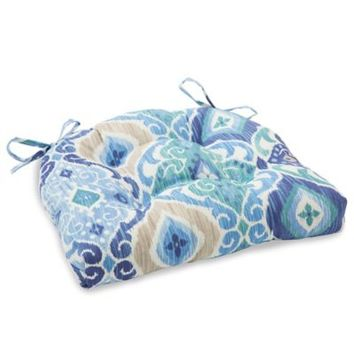 Outdoor Tufted Cushion in Ikat Blue