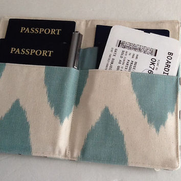 Family Passport Holder, Village Blue and Brown Lattice,  Holds 4 Passports, READY TO SHIP, Limited Edition, Travel Accessory, International