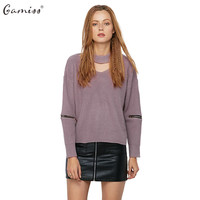 Gamiss Autumn Winter Women Sweater Jumper Pullover Long Zipped Sleeve Cut Out V Neck Chunky Choker Sweaters Knitted pull femme