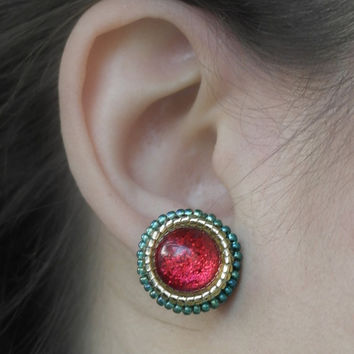 Christmas Earrings, Stud Earrings, Red Glitter Colors, Christmas Jewelry, Christmas Stocking, Best Friend Gift,  Red And Green,Holiday Gift