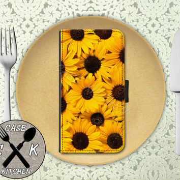 Sunflower Flower Collage Cute Tumblr Inspired Yellow Custom Wallet Phone Case For The iPhone 4 and 4s and iPhone 5 and 5s and 5c