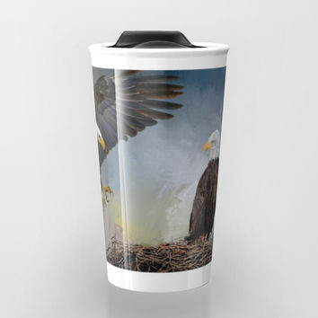 Eagles Nest Travel Mug by Theresa Campbell D'August Art