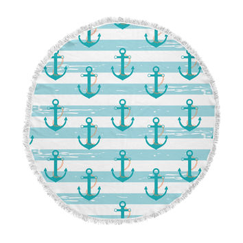 "afe images ""Nautical Anchor Pattern"" Teal Blue Illustration Round Beach Towel Blanket"