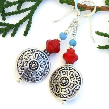 Southwest Floral Handmade Earrings, Artisan Red Coral Blue Czech Glass Beaded Jewelry