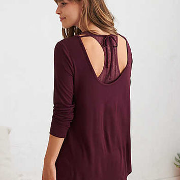 Aerie Real Soft® Tie-Back Legging Tee, Deep Plum