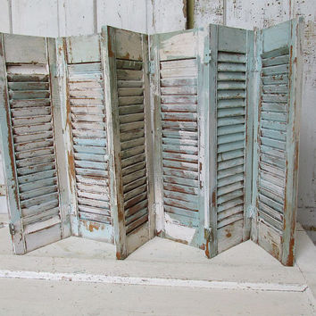 Distressed wooden shutters robins egg blue Shabby cottage chic large vintage set very weathered wedding home decor anita spero design