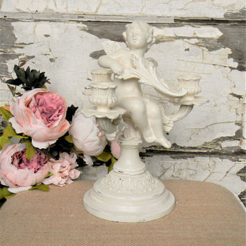 Vintage Angel Candelabra,Angel Decor,Angel Statue,Cherub Decor,Cherub Candelabra,Angel Candle holder,Vintage Candelabra,French Decor