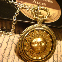 Gears and Moon Face Steampunk Clockwork Pocket Watch Pendant Necklace (1781)