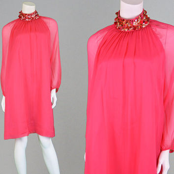 Vintage 60s Party Dress POLLY PECK Hot Pink Silk Chiffon Shift Dress Sequin Dress High Neck Dress Twiggy Dress 1960s Party Dress Mod Dress
