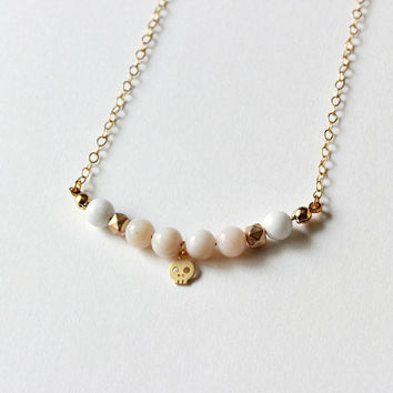 Tiny skull necklace, 14k Gold filled necklace, Gemstone necklace, Pink gemstone necklace