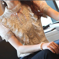 Manufacturers Supply New Arrival High Quality Princess Style Stand Collar Puff Sleeve Chiffon Lace Blouse