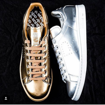Women Men Casual Sport Print Adidas Stan Smith Shoes Golden silver 851f7a753