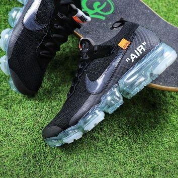 CREYNW6 Sale OFF WHITE x Nike Custom Air VaporMax 2.0 OW Sport Running Shoes Black Ice Blue Sneaker