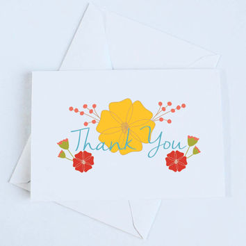 Floral Thank you Card, Thank you Greeting Card, Thank you Card, Floral