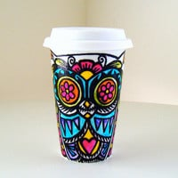 Ceramic Travel Mug Owl Day of the Dead Tribal Tattoo by sewZinski