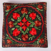 Decorative Pillow/Cushion Cover 16x16 inches/Black Red Green/Shams/Slip/Embroidery/Custom made/Floral/Vines/accent/throw/sofa/outdoor/couch