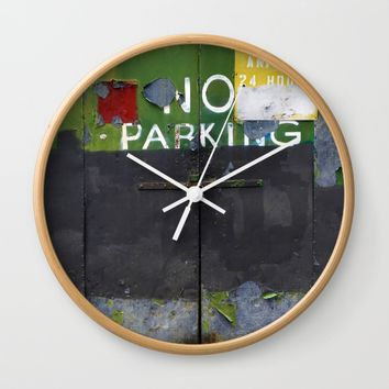 No Parking 1 Wall Clock by EXIST NYC