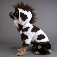 Dog clothes Brown Cow Costume with mohawk size by PetitDogApparel
