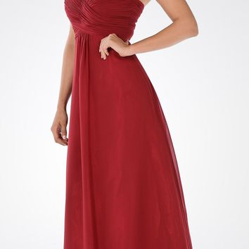 Sweetheart Strapless Ruched Bodice Lace Up Back Long Bridesmaids Dress Burgundy