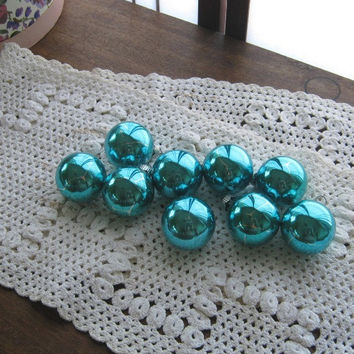 Nearly 2 Dozen Turquoise Shiny Brite Christmas Tree Ornaments - Small-Medium Turquoise Blue Glass Ball Ornaments - Coby Turquoise Ornaments