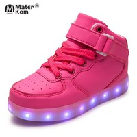Children LED Shoes for Kids Boys Glowing Sneakers with Luminous Sole Teen Baskets Light Up Sneakers 2018 New Arrival skateboard