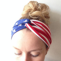Turban Headband - Baby Turban headband - USA headband - USA Turban - Child Turban - Baby USA Turban - American Flag Turban - 4th of july