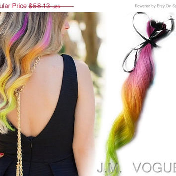 "Save - ON SALE NOW 18"" Tropical Pink Punch 100% human hair Clip In Ombre extensions DipDye Pink Yellow Orange Vibrant Green"