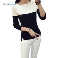 Colorful Apparel Fashion Sweater Women Spring Knitted Pullovers Long Sleeve Slim Knitwear Summer Style Knitted Jumper CA537