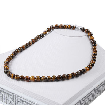 13Colors Hot 45cm Natural Turquoise Lava Amethyst Tiger Eye Beaded Choker Necklace For Women Men Jewelry