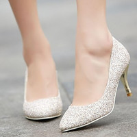 Intionix Shop Women's Shoes Pointed Toe Stiletto Heel Glitter Pumps Shoes More Colors available