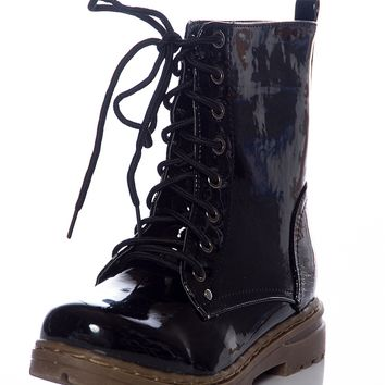 Gloss Grudge Patent Lace Up Boots - Black from CA Collection by Carrini at Lucky 21