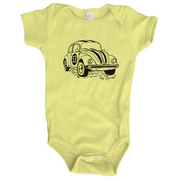 Baby Onesuit Bettle Racecar American Apparel Hand Screen Print
