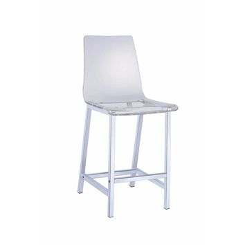 Acrylic Bar Height Stool with Chrome Base, Clear And Silver, Set of 2