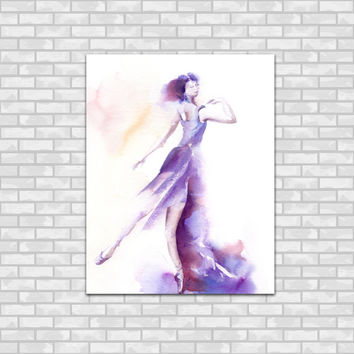 Ballerina Watercolor Painting Art Print, Purple Ballet Dance Modern Watercolour Art