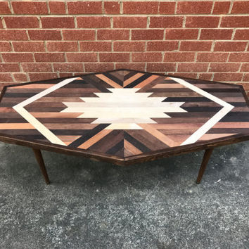 NEW* Hexagon Navajo Aztec Native Boho Mid-Century Coffee Table
