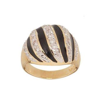Elegant Dome Shape Zebra Stripe Gold Tone Fashion Ring With Black Enamel and Pave Cubic Zirconia