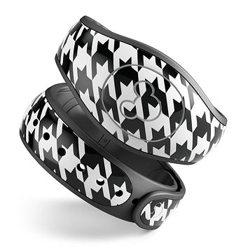 Black and White Houndstooth Pattern - Decal Skin Wrap Kit for the Disney Magic Band