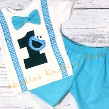 Boys Cookie Monster Birthday Outfit, Boys First Birthday Outfit, 2nd Birthday, Cookie Monster Birthday