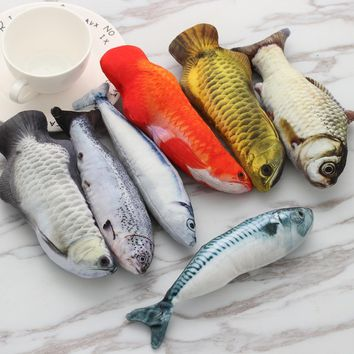 1 PC New Lovely Artificial Fish Plush Pet Cat Puppy Dog Toys Sleeping Cushion Fun Toy Cat Mint Catnip Toys Gadget