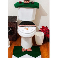 White Snowman Toilet Seat Cover and Rug Set