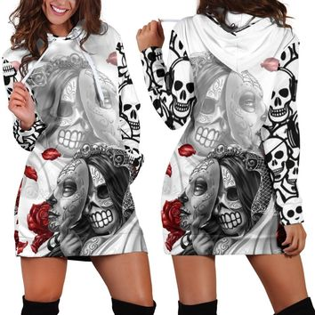 Dress Women For Christmas Skull Hoodies High Street Mini Dress Pullovers Long Sleeve Casual Women Sweatshirts