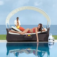 Rantum Outdoor Lounger for Two with Canopy at Brookstone—Buy Now!