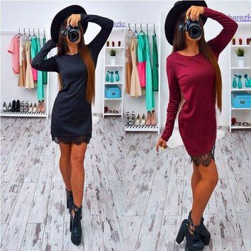 LMFOK8 2017 Autumn Lace Patchwork Women Dress Fashion O-neck Long Sleeve Black Red Elegant Dresses Casual Bodycon vestidos Plus size