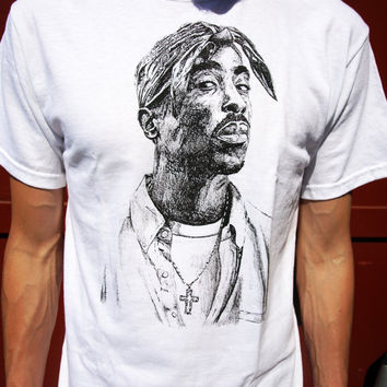 TUPAC SHAKUR T-SHIRT mens new hip hop clothing retro era rap makaveli music graffiti vintage white
