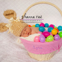 Easter Hat- Ready to Ship- NEWBORN- Baby Bunny Hat- Cream