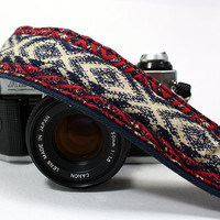 OOAK, Camera Strap with pocket, dSLR or SLR, Red, Indigo, Navy Blue, White